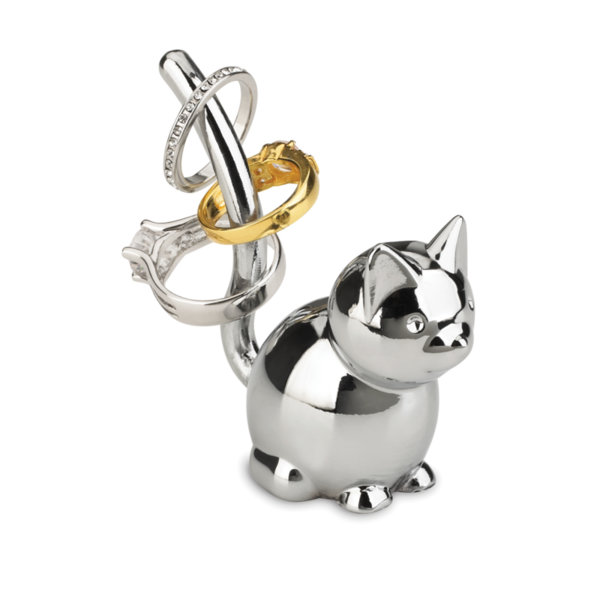 """UMBRA Поставка за пръстени """"ZOOLA CAT"""" - котка - цвят хром"""
