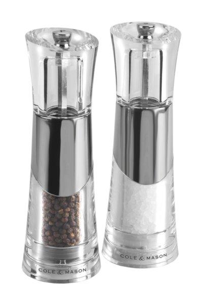 """COLE & MASON Комплект мелнички за сол и пипер """"BOBBI"""" - 18,5 см. - с акрилна поставка"""