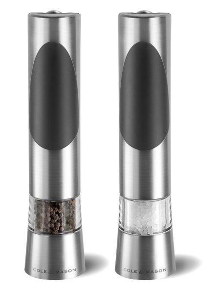 """COLE & MASON Комплект електрически мелнички за сол и пипер """"RICHMOND"""" - 21,5см - с механизъм за прецизност"""