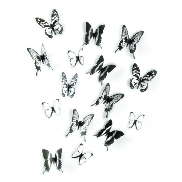 "UMBRA Комплект декорация за стена ""CHRYSALIS"" - 16бр. пеперуди - 3 размера"
