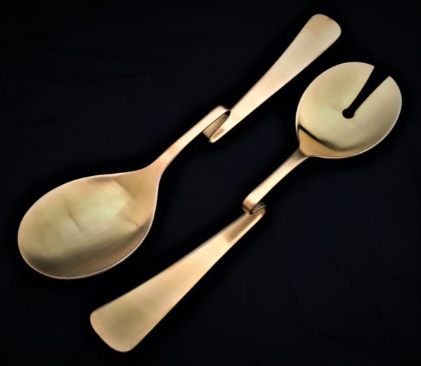 "HERDMAR Прибори за салата ""CARMIL"" - 2 части - старо злато - извити"