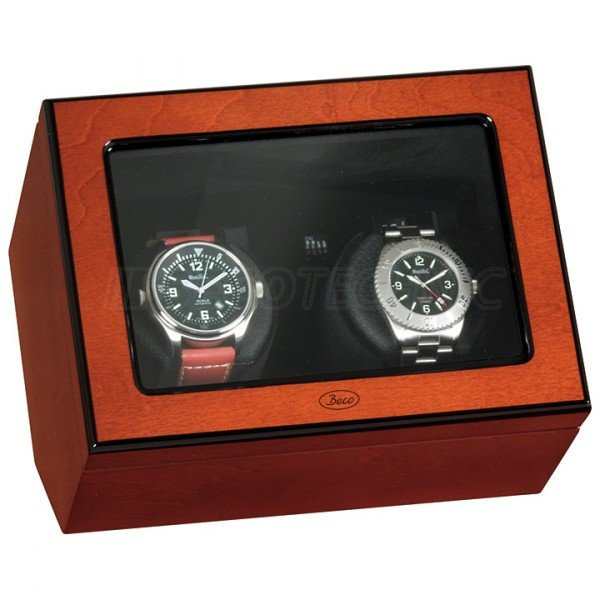 WATCH WINDERS Beco Technic Atlantic For 2 Watches, Rosewood Veneer Case, Black Velvet Interior