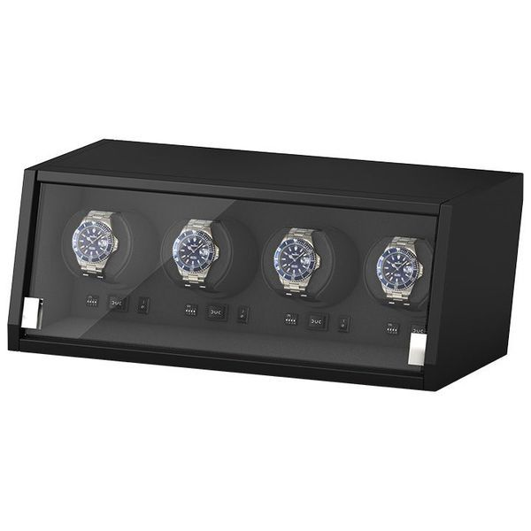 WATCH WINDERS Beco Technic Boxy Castle 4 Matt Black Wood