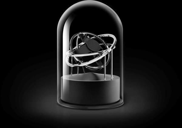 WATCH WINDERS Bernard Favre PLANET DOUBLE-AXIS SILVER RINGS BLACK ALU BASE
