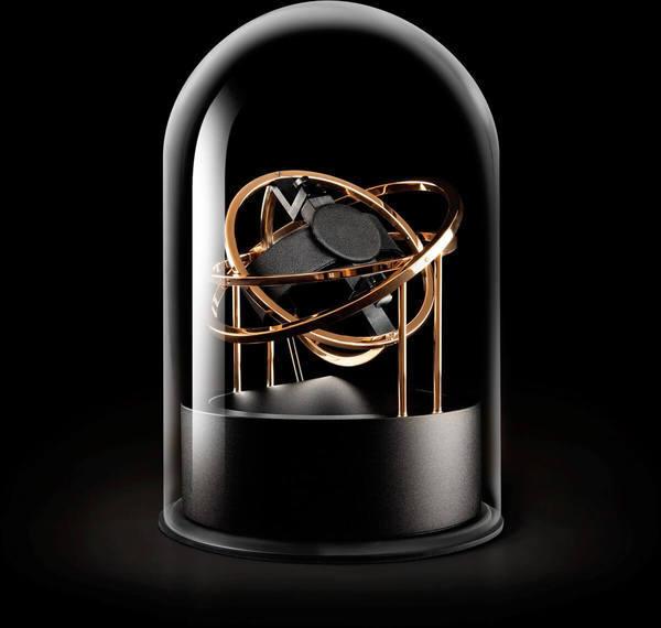 WATCH WINDERS Bernard Favre PLANET DOUBLE-AXIS ROSE GOLD RINGS BLACK ALU BASE