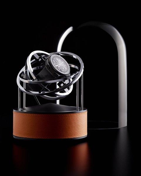 WATCH WINDERS Bernard Favre PLANET DOUBLE-AXIS SILVER RINGS & GENUINE GRAIN LEATHER BASE
