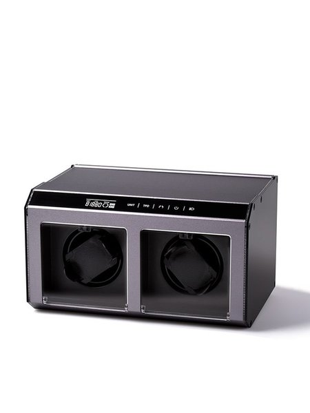 WATCH WINDERS Bon Mercato München EVO-TOUCH / F-CUBE 2 WINDER FOR 2, LED LIGHT, GREY ALU CASE (BonMercato AN1003122003)