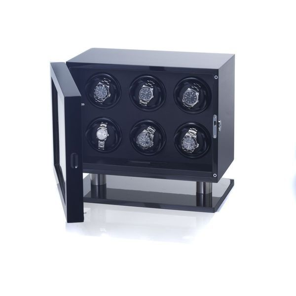 WATCH WINDERS Bon Mercato München Skyline 6 (Rotating 6 Watches) Black Piano Lacquer Wood & Aluminium (AN1003195003)