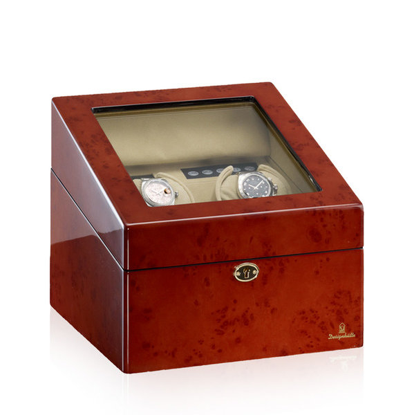WATCH WINDERS Designhütte München 2 LCD Burlwood Luxurious 2+4 Winder (Spins 2 And Stores 4 More Watches)