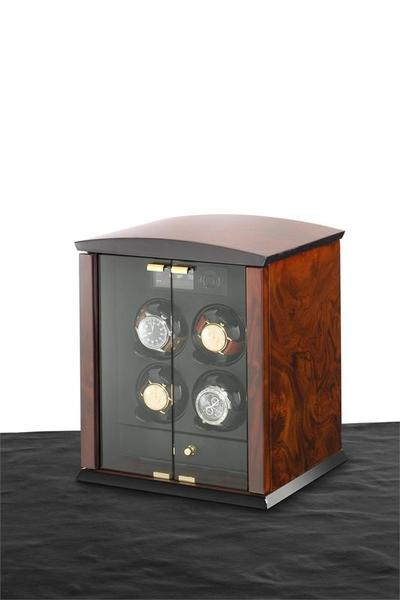 WATCH WINDERS Elma Motion Corona 4 Burlwood Glass Doors