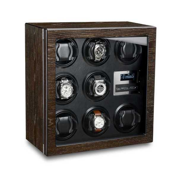 WATCH WINDERS Ferocase For 8 Self-Winding Watches, Bog Oak & Black Leather Optics
