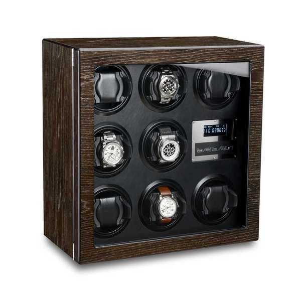 WATCH WINDERS Ferocase For 8 Self-Winding Watches, Bog Oak & Black Leather Optics