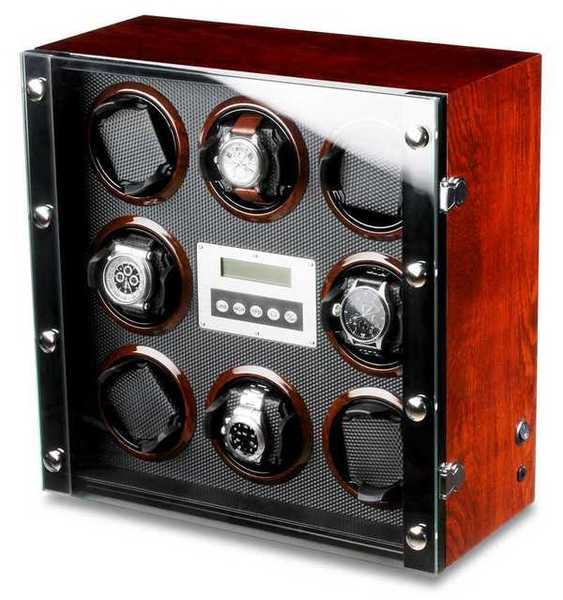 WATCH WINDERS Ferocase For 8 Self-Winding Watches, Burl Wood & Carbon Fibre Optics