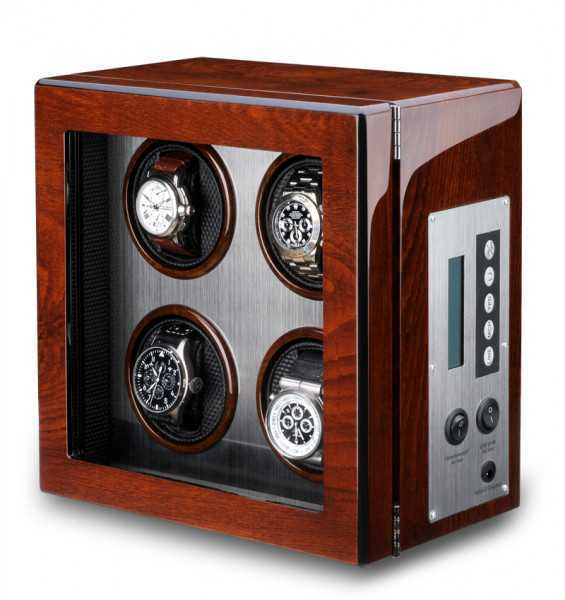 WATCH WINDERS Ferocase For 4 Watches - Burl Wood Exterior, Brushed Stainless Steel Interior