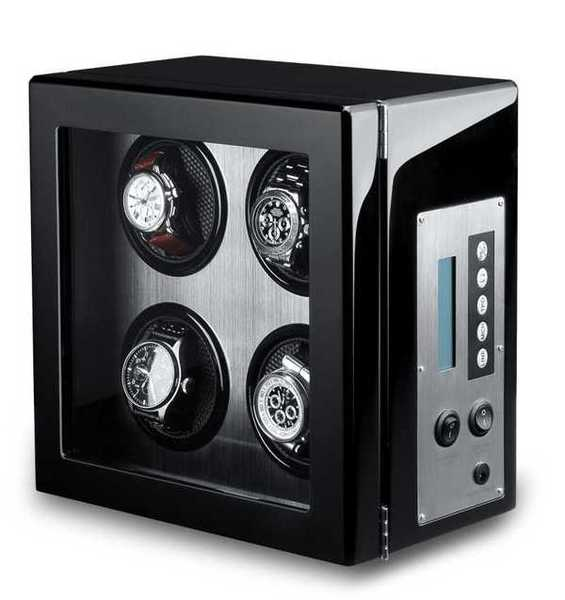 WATCH WINDERS Ferocase For 4 Watches - Black Piano Lacquer Exterior, Brushed Stainless Steel Interior