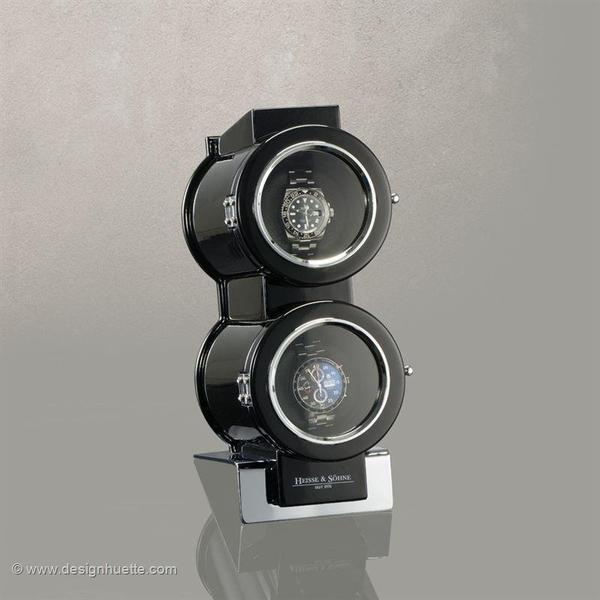 WATCH WINDERS Heisse & Söhne DUO BLACK Exclusive Design Winder For 2 Timepieces