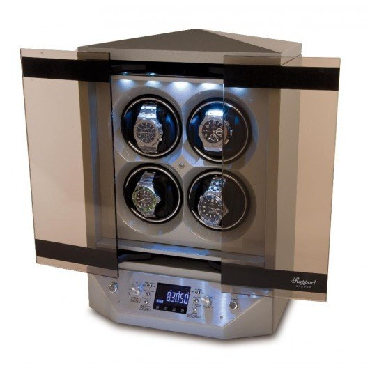 WATCH WINDERS Rapport London Est. 1898 W310 - Templa Silver For 4 Automatic Watches, Smoked Glass Sliding Doors, LED Display