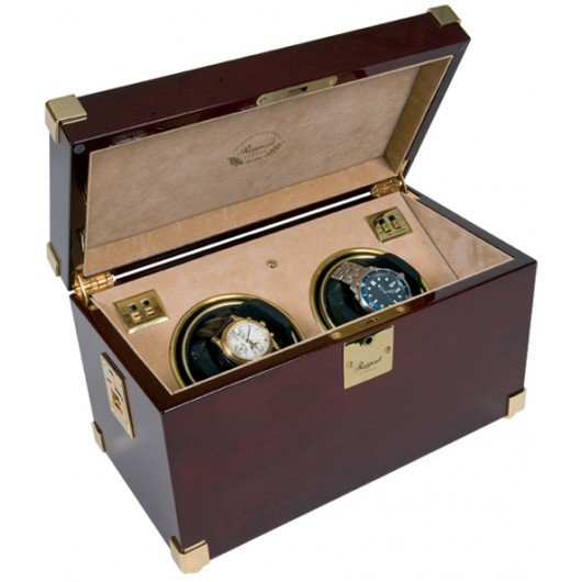 WATCH WINDERS Rapport London Est. 1898 W272 - Captain's Duo - Polished Mahogany, Beige Interior