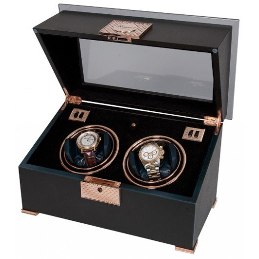 WATCH WINDERS Rapport London Est. 1898 W332 - Black Rose Duo - Piano Finish Ebony And Rose Gold