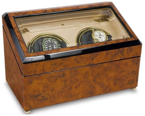 WATCH WINDERS Rapport London Est. 1898 W232-Optima Walnut Burr Duo Watch Winder, Glass Top, Beige Interior
