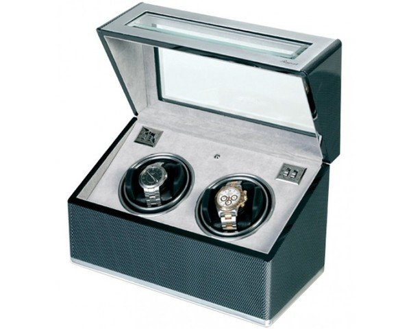 WATCH WINDERS Rapport London Est. 1898 W252 - F3 Carbon Fibre + Aluminium Duo Watch Winder