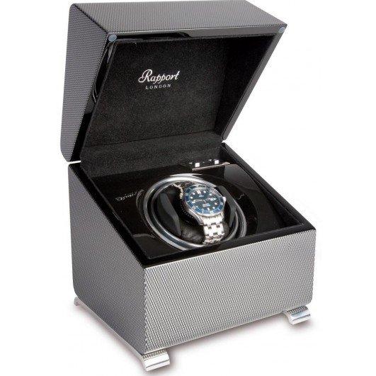 WATCH WINDERS Rapport London Est. 1898 W371 - Vogue Carbon Fibre Mono Watch Winder