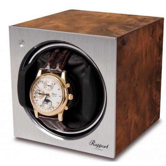 WATCH WINDERS Rapport London Est. 1898 W148-Tetra Mono Watch Winder, Aged Walnut Finish, Aluminium Front Panel