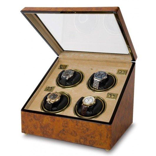 WATCH WINDERS Rapport London Est. 1898 W234 - Optima Walnut Burr Quad Watch Winder.