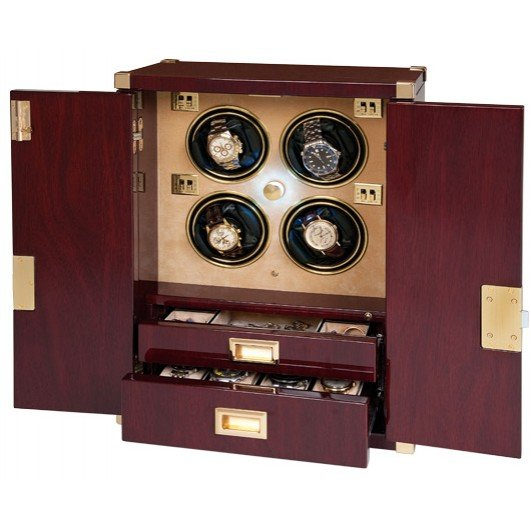 WATCH WINDERS Rapport London Est. 1898 W284 - 4 WATCH CABINET MARINER'S CHEST MAHOGANY