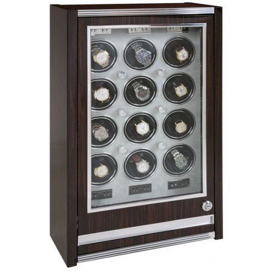 WATCH WINDERS Rapport London Est. 1898 W412 PARAMOUNT TWELVE WATCH CABINET MACASSAR WOOD