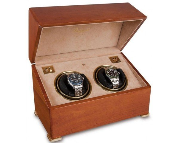 WATCH WINDERS Rapport London Est. 1898 W112 - PERPETUA II SATIN WALNUT DUO WATCH WINDER