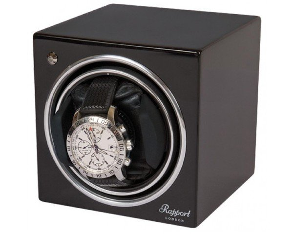 WATCH WINDERS Rapport London Est. 1898 EVO CUBE MIDNIGHT BLACK - EVO CUBE #7 - Black Single Winder