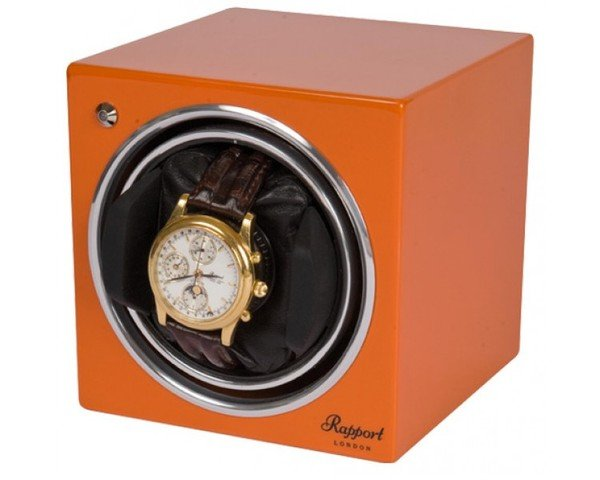 WATCH WINDERS Rapport London Est. 1898 EVO CUBE SUNSET ORANGE - EVO CUBE #10 - Orange Single Winder