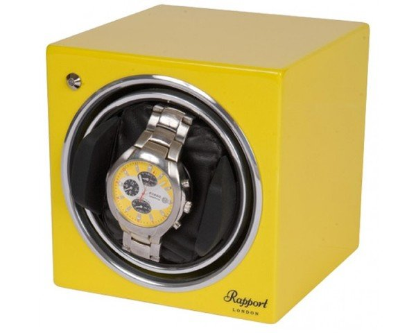 WATCH WINDERS Rapport London Est. 1898 EVO CUBE CITRUS YELLOW - EVO CUBE #11 - Yellow Single Winder