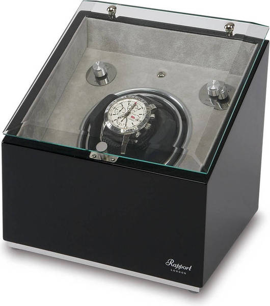 WATCH WINDERS Rapport London Est. 1898 ASTRO MONO W152 - Black With Grey Interior.