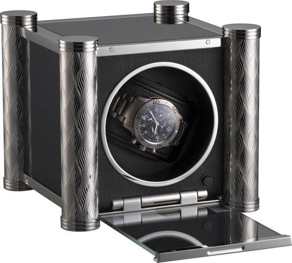 WATCH WINDERS RDI Charles Kaeser PRESTIGE K10-1 Chiseled Metal Columns, Black Glass Sides, Leather-Clad Front, Glass Door