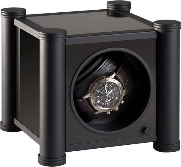 WATCH WINDERS RDI Charles Kaeser PRESTIGE K10-6 Soft-Black Metal Columns, Black Glass Sides, Leather-Clad Front, Glass Door