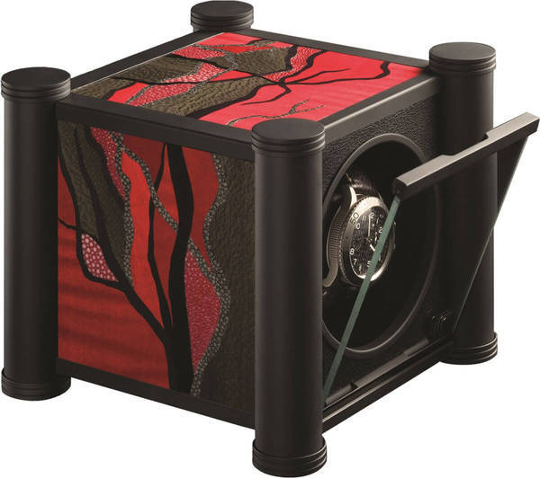 WATCH WINDERS RDI Charles Kaeser SIGNATURE VEGETAL Soft-Black Metal Columns, Plane Tree, Shagreen And Sycamore Marquetry Sides