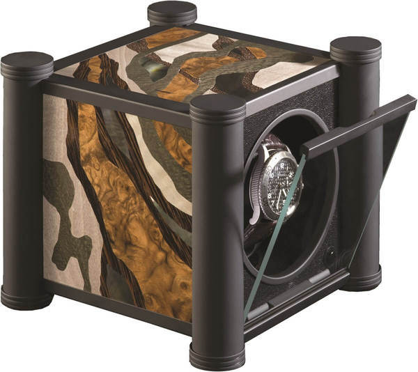 WATCH WINDERS RDI Charles Kaeser SIGNATURE TRACES Soft-Black Metal, Burr Walnut, Mother Of Pearl, Wenge, Shagreen Marquetry