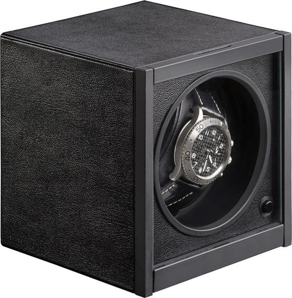 WATCH WINDERS RDI Charles Kaeser HORIZON CLASSIQUE Purist Black Leather-Clad, Glass Door, Single Watch Winder