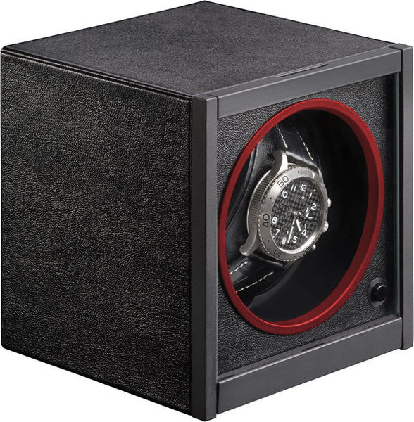 WATCH WINDERS RDI Charles Kaeser HORIZON ROUGE Minimalist Black & Red Accent Leather-Clad, Glass Door, Single Watch Winder
