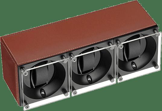 WATCH WINDERS Swiss Kubik Masterbox Triple Leather Brown SK03.CV004 - WP