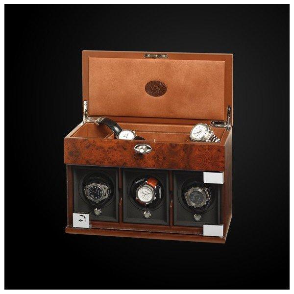 WATCH WINDERS Underwood London Three Module With Jewellery Case Briarwood