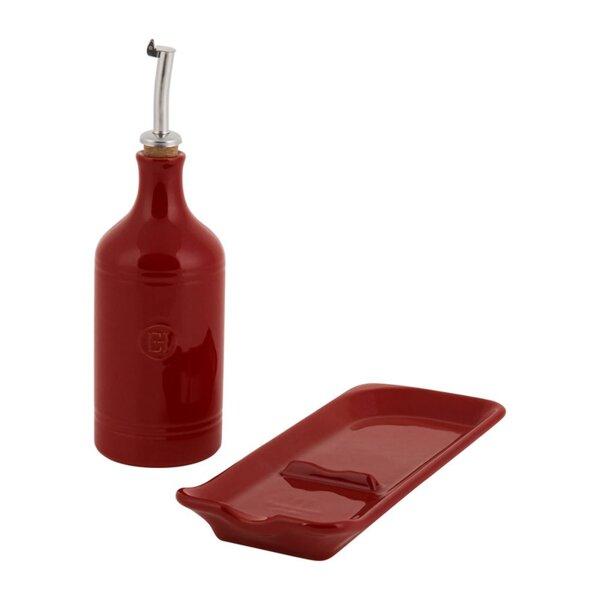 """Подаръчен сет аксесоари """"OIL CRUET & SPOON REST SET"""" - 2 части - цвят червен"""