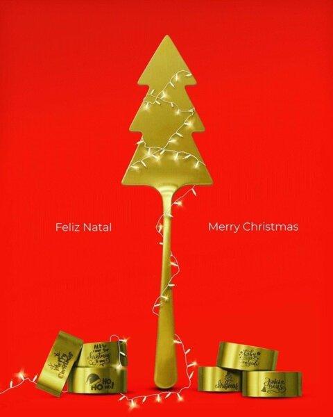 "Подаръчен коледен сет ""CHRISTMAS GIFT"" - 7 части - позлатени/мат"