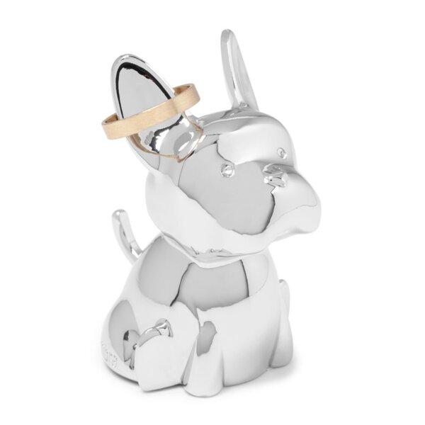 """Поставка за пръстени """"ZOOLA FRENCHIE"""" - куче - цвят хром"""