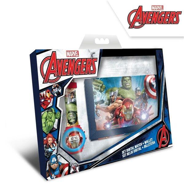 Комплект детски часовник и портфейл Avengers