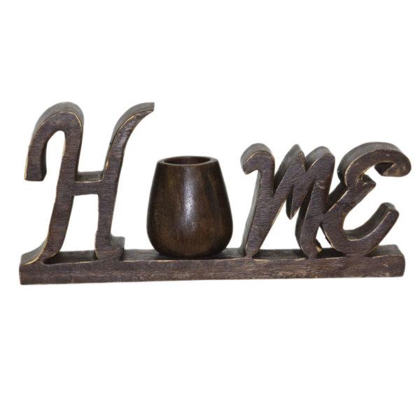 Дървен надпис с ваза 10х40х18см 71026683