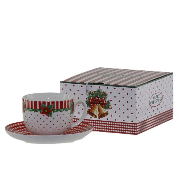 Чаша 220мл с чинийка - Коледна звезда 22026944