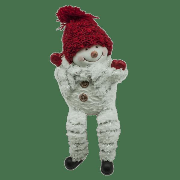 Коледна декорация - Снежен човек с висящи крака 10.5см 23028394